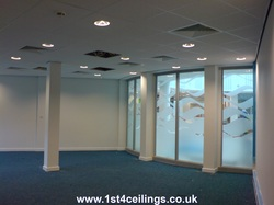 Ceiling design with spot lights and air con grills